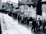 Jarrow marchers pasing through Buckinghamshire, 26 October 1936.