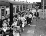 Pupils joining the special train for Norwich at Shenfield Station, June 1955.