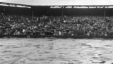 Rain stops play on Wimbledon's Centre Court, London, c 1930s.