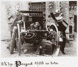 C S Rolls with his 3 3/4 hp Peugeot 'in bits', 1896.