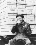 Worker drinking tea, London, World War Two, 27 September 1946.