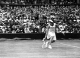 Mis J Hartigan in action at Wimbledon, 1935.