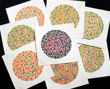 Set of eight Ishihara charts for testing colour-blindnes, c 1959.