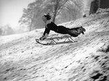 Tobogganing on Hampstead Heath, London, 22 December 1938.