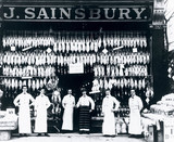 Staff in front of one of J Sainsbury's first grocery shops, c 1900.