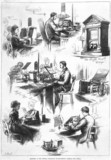 Sketches at the Central Telegraph Establishment, GPO, 1874.