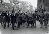 VE day celebrations in Piccadilly, London, WWII, 7 May 1945.