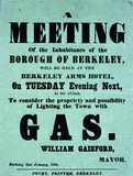 """Poster advertising a meeting to discuss lighting a town by gas, 1854."""