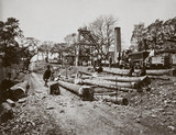 Navvies at Pit Bank Shaft No 4, Belsize Tunnel, London, c 1865.