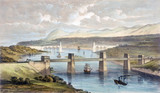 The Britannia Tubular Bridge, Wales, 1850.
