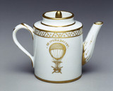 Teapot illustrated with a ballooning scene, late 18th century.