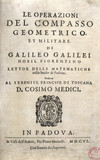 Title page of 'The Operation...' by Galileo, 1606.