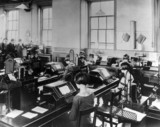 Women working in Derby telegraph office, Derbyshire, c.1929.
