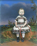 Portrait of a child with a hoop, hand-coloured ambrotype, c 1860.