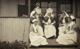 Nurses at a war hospital posing for a photograph, 1914-1918.