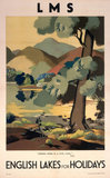 'English Lakes for Holidays', LMS poster, c 1930s.
