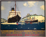 "'The ""Golden Arrow"" and the ""Motorists"" Service leaving Dover', SR poster, 1932."
