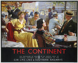 'The Continent', GWR/LMS/LNER/SR poster, 1936.