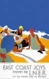 'East Coast Joys No 2 - Sun-bathing', LNER poster, 1931.