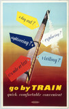 'Go by Train, Quick, Comfortable, Convenient', BR poster, 1952.