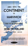 'Links with the Continent via Harwich', BR poster, 1953.