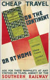 Cheap Travel on the Continent or at Home', SR poster, 1938.