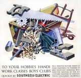 'To your Hobbies, Handiwork Clases, Boy's Clubs', SR poster, 1930s.