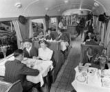 Dining in a Great Western Railway buffet car, September 1938.