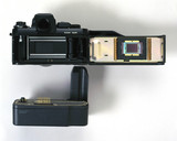 Kodak DCS fitted to Nikon F3 camera, 1990s.