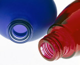 Two coloured bottles, powder-coated by Azko Nobel, 2000.