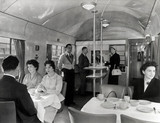 Diners in a British Railways Western Region buffet car, c 1950s.