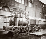 'Puffing Billy' steam locomotive, outside the Patent Museum, London, 1876.