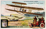 """The Wright brothers aeroplane taking flight, Liebig trade card, c 1910."""