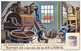 """A chocolate factory at work, Liebig trade card, early 20th century."""