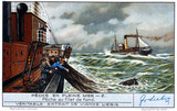 """Fishing with a deep sea net, French Liebig trade card, early 20th century."""