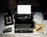 A typewriter in the 'Mind Your Head' exhibition, January 2001.