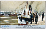 """Return to port, Liebig trade card, early 20th century."""