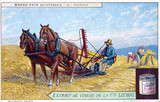 """Harvesting the wheat, Liebig trade card, early 20th century."""
