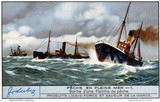 """Fishing fleet setting out to sea, French Liebig trade card, early 20th century."""