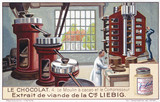 """ 'The cocoa mill and the compressor', Liebig trade card, early 20th century."""