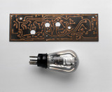 Sterling audio amplifier valve, c 1925, and printed circuit board, c 1950.