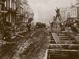 Constructing the world's first underground railway, London, 1860s.