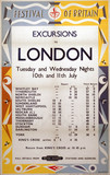 'Festival of Britain - Excursions to London', BR (NER) poster, 1951.