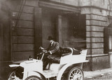C S Rolls behind the wheel of his 7 hp Panhard motor car, c 1903.