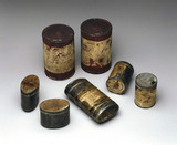 Specimens of early tinned food, c 1899-1902.