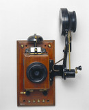 Wall telephone with Edison chalk receiver, early 20th century.