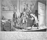 The surgery of Dr Meagre, 18th century.
