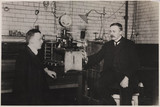 Ernest Rutherford and Hans Geiger, nuclear physicists, 1912.