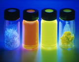 Light emitting polymer samples in UV light, October 2002.