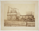 'Locomotion' displayed on a plinth at North Road Station, Darlington, 1870.
